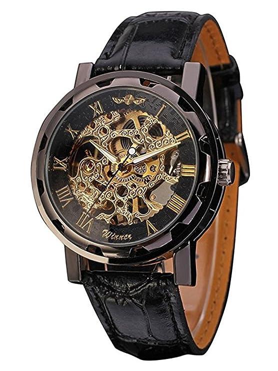 Mudder Men's Mechanical Elegant Skeleton Dial Wrist Watch, Black