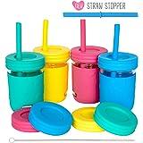 226.8 克梅森罐玻璃杯 Pink, Teal, Blue & Yellow 4 Pack with Sleeve 7278