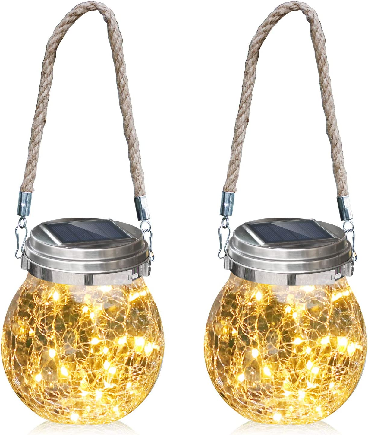 Solar Glass Lights Hanging 2 Pack Solar Lights Outdoor Waterproof,[ 30 LED Warm White Light]Garden Chandelier Table lamp,Solar Lights Courtyard Garden Lights Table lamp, Garden Party Atmosphere Light