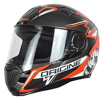 Origine Helmets Casco Moto, Negro/Rojo, talla L