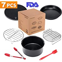 ColorGo Air Fryer Accessories 7 inch Fit all 3.7 QT-5.3 QT Bread Rack,Metal Holder and so on Set of 11 Coynza,Gowise Includes Cake Barrel Suit for Philips 7 inch Skewer Rack Pizza Pan