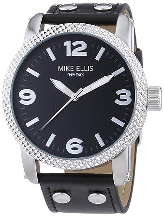 Mike Ellis New York an:e - Reloj de cuarzo para hombre, correa de cuero color negro: Amazon.es: Relojes