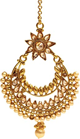 Amazon Com Gold Antique Kundan Bollywood Chaand Headpiece Tikka