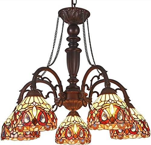 Chloe Serenity Tiffany-Style 5 Light Victorian Large Chandelier 27″ Wide