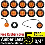 """10 Pcs TMH 3/4"""" Inch Mount Amber LED Clearance Markers Bullet Marker lights, side marker lights, led marker lights, led side marker lights, led trailer marker lights, trailer marker light"""
