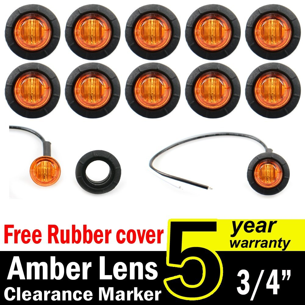 10 Pcs TMH 3/4' Inch Mount Red LED Clearance Markers Bullet Marker lights, side marker lights, led marker lights, led side marker lights, led trailer marker lights, rv marker lights US-Red