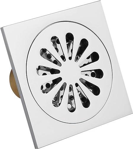 RXXR /Égouttoir carr/é en Laiton Massif 100 x 100 mm Anti-odeurs pour Salle de Bain avec Filtre Housse Amovible en cuivre Finition chrom/ée Anti-encrassement pour Cuisine h/ôtel Salle de Bain