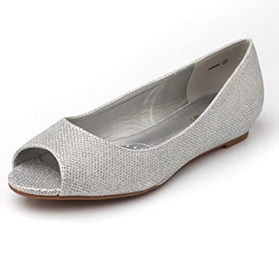 e9999a5a2dcf DREAM PAIRS Women s Dories Silver Glitter Low Wedge Peep Toe Flats Shoes  Size 5 M US