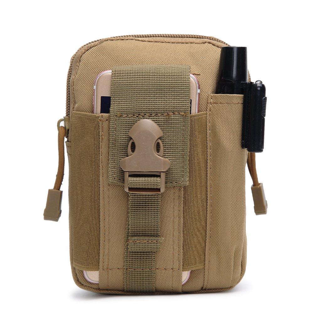 Tactical MOLLEパックhenwsコンパクトEDCガジェットアウトドアユーティリティベルトウエストバッグスマートフォンホルスターポーチポケット B071P889PZ カーキ