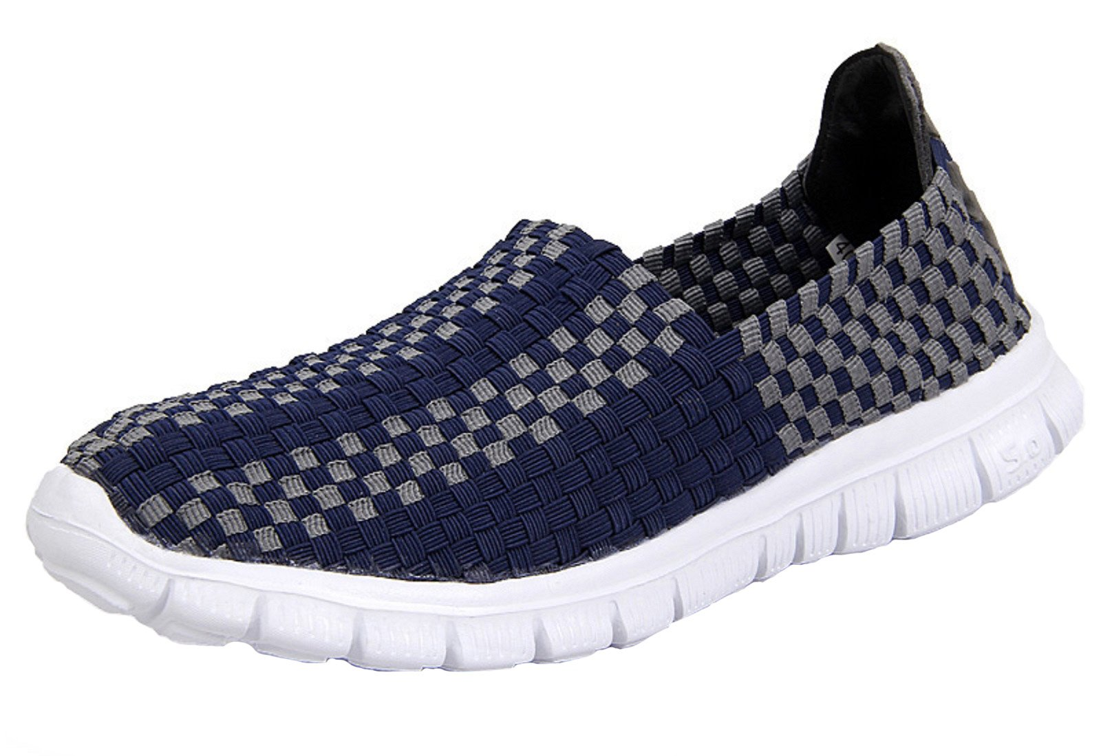 VenusCelia Women's Performance Woven Walking Sneakers Shoes (6.5 B(M) US,Navy/Gray)