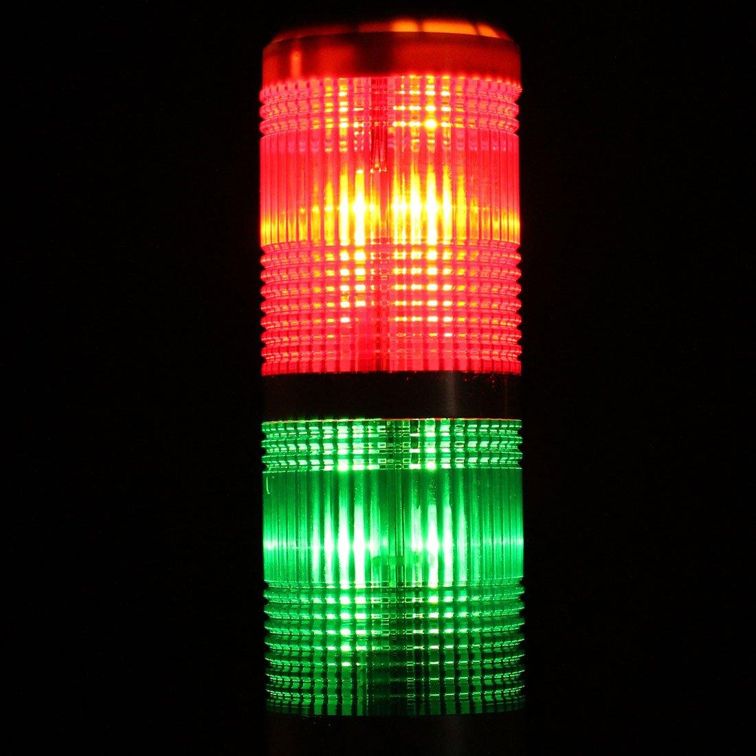 uxcell Warning Light Bulb Super Bright Industrial Signal Alarm Lamp DC24V Red Green TB50-2T-E