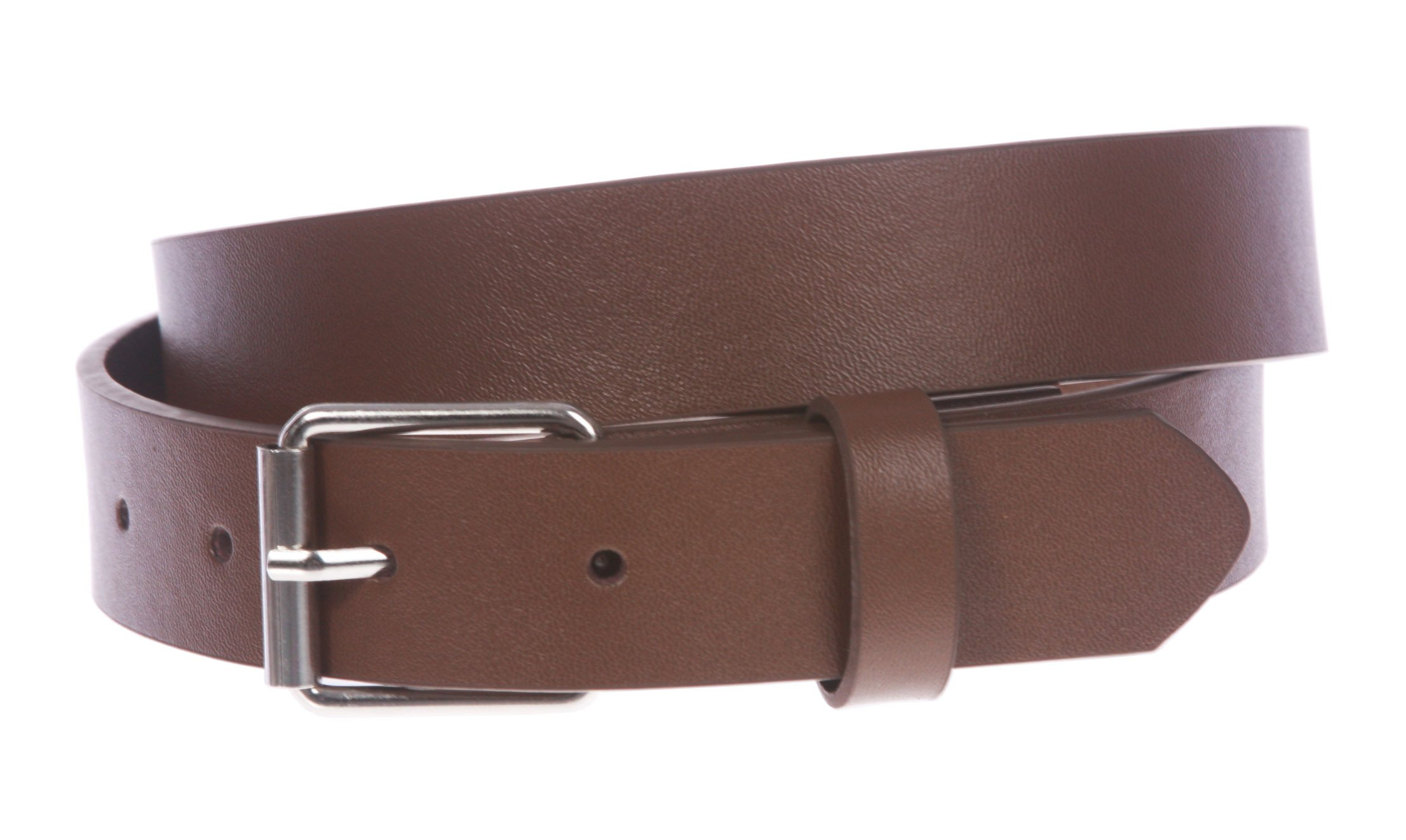 Kids 1'' Snap On Plain Leather Belt, Brown | S - 20''