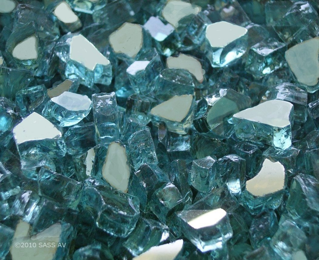 Fireplace Glass, 15 Lbs of ~1/4'' Azuria Reflective + 35 Clear Base , 50 LBS Total