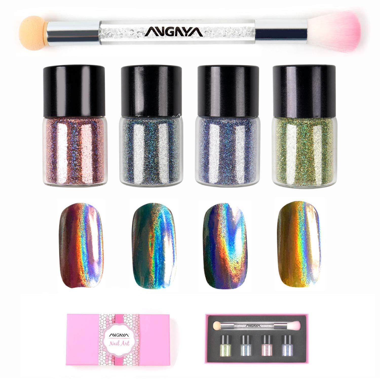 ANGNYA 4 Colors Nail Holographic Laser Glitter Powder Rainbow Chrome With Double-ended Rhinestone Sponge Brush Nail Art Set (5g/bottle) by ANGNYA