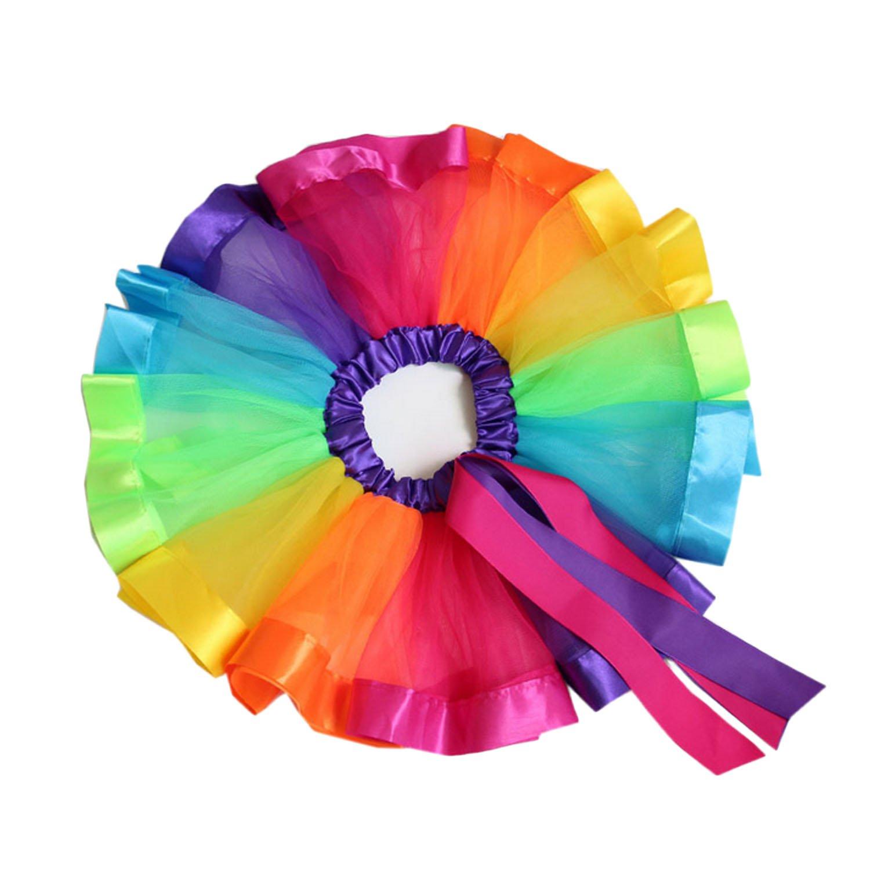 Kids Girls Sweet Rainbow Tutu Ballet Dance Skirts Costume Dress for Birthday Party School Play Christmas Pageant