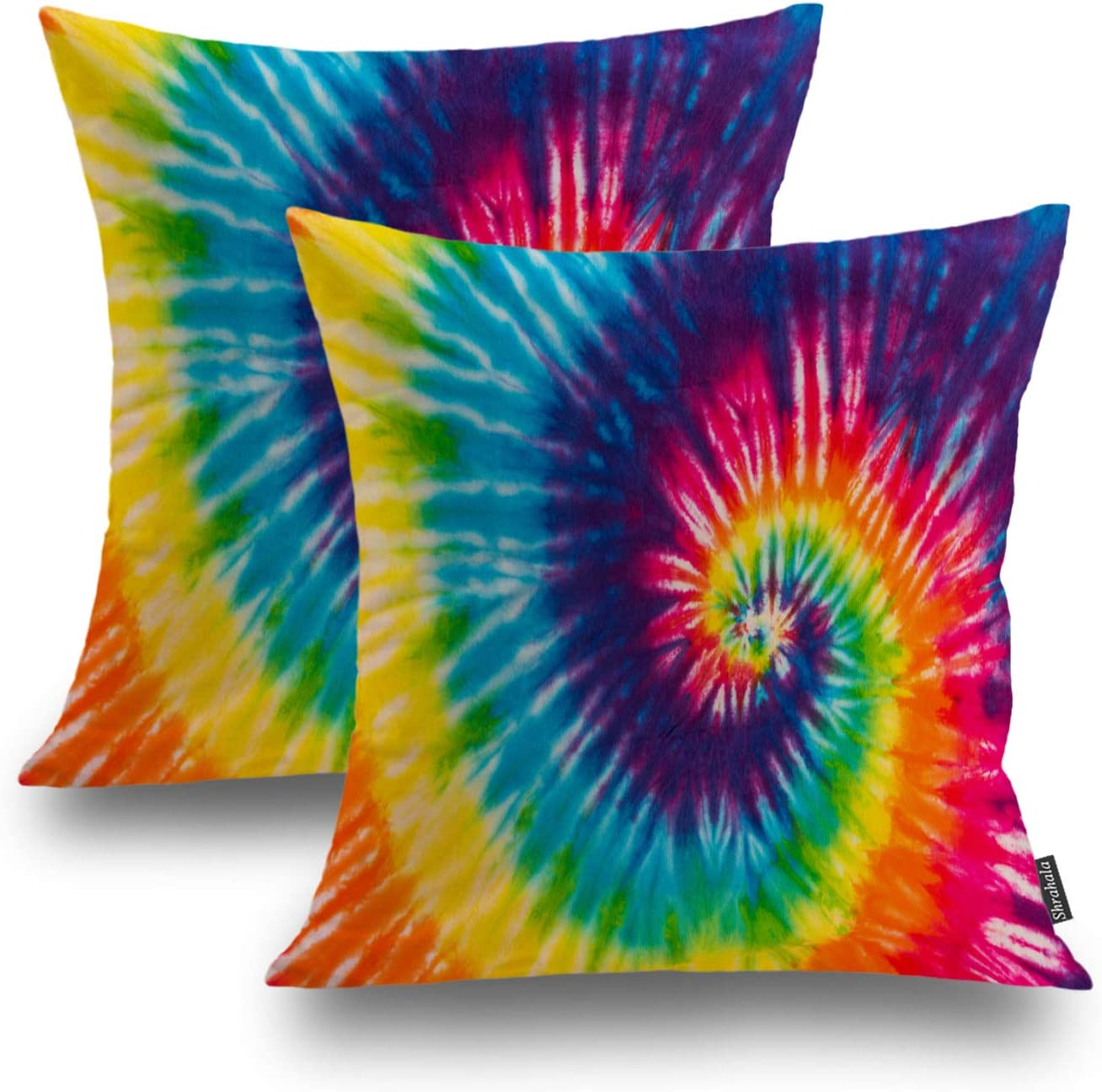 Shrahala Fashion Decorative Pillow Covers 18x18 Set of 2, 1970s Colorful Psychedelic Tie Dye Design Abstract Pattern Cushion Case for Sofa Bedroom Car Throw Pillow Covers, Square 18 Inches, Red Dye