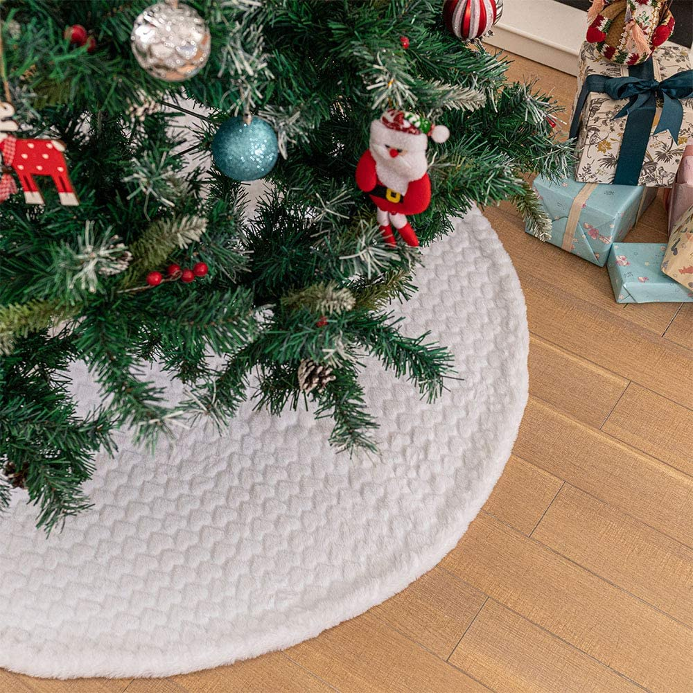 Heart, 36 inches 36 inches Luxury Faux Fur Xmas Tree Base Cover Mat with Heart Pattern for Xmas New Year Home Party Decorations DegGod White Plush Christmas Tree Skirts
