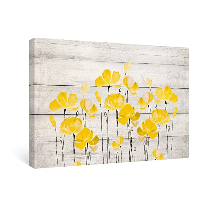 SUMGAR Canvas Wall Art Living Room Yellow Flower Pictures Bathroom Floral Paintings Gray Prints Grey Arwork,16x24 in