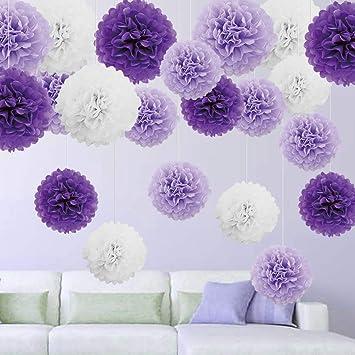 21er Set Seidenpapier Papier Pompoms Blumen Dekoration Deko Fur