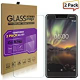 [2-Pack]Nokia 6 2018 Tempered Glass Screen Protector, ZeKing 0.33mm 2.5D Edge 9H Hardness [Anti Scratch][Anti-Fingerprint] Bubble Free, Lifetime Replacement Warranty