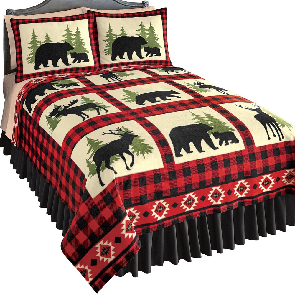 Collections Etc Woodland Fleece Coverlet, Bear, Deer and Moose Silhouettes with Red/Black Checkered Pattern, Rustic Cabin Bedding, Red/Black, Full/Queen Winston Brands