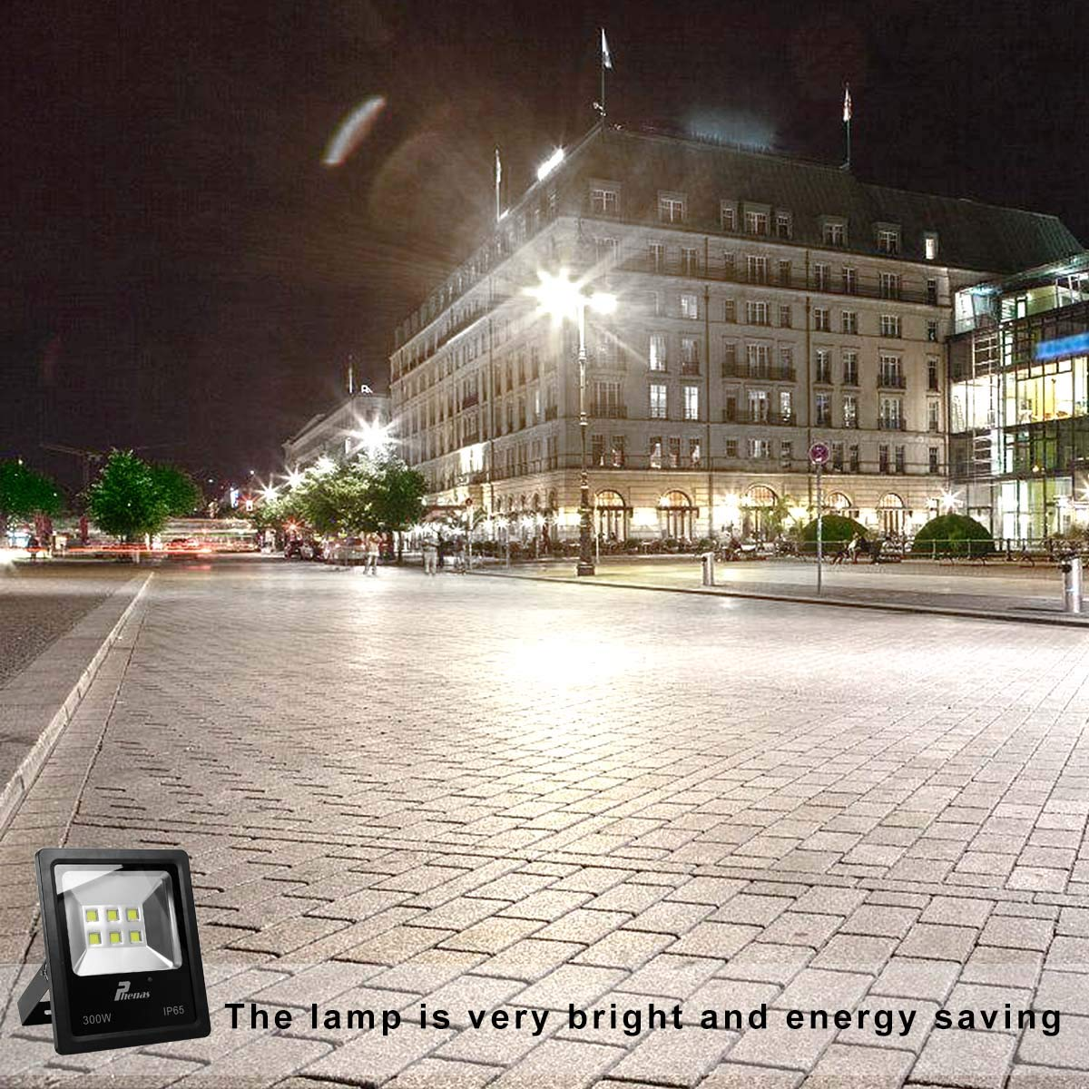 Super Bright Daylight Cool White 6000K Security Light for Garden Yard 300W Flood Lamp Party Playground Waterproof IP65 303,000Lm Samsung LED Beads Phenas Outdoor LED Flood Light