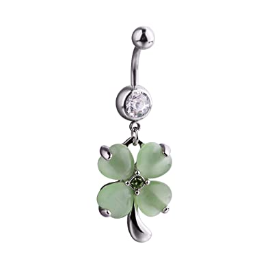 d8c6d1667 Amazon.com: 14G Stainless Steel Opal Four Leaf Clover Dangle Belly Navel  Button Ring Body Piercing Jewelry. (Green): Jewelry