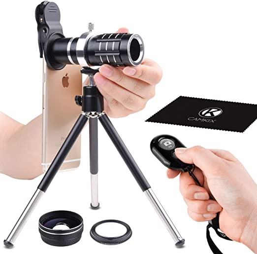 Awesome Mobile Photography for Apple iPhone etc Wide Angle Lenses - Adjustable Tripod Macro Samsung Galaxy Universal 3in1 Lens Kit with Bluetooth Remote Control Camera Shutter 12x Telephoto