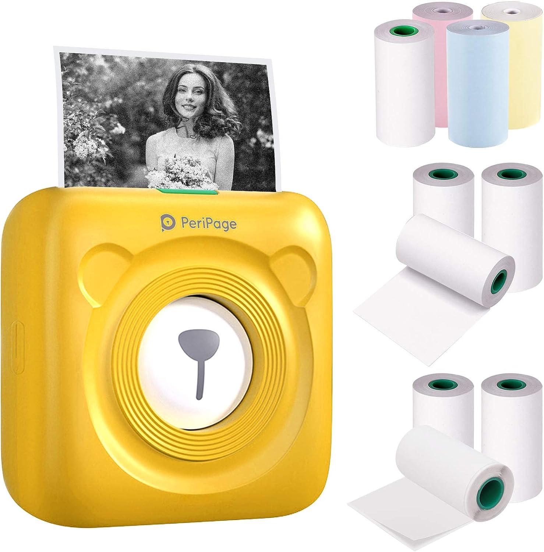 Aibecy mini impresora para movil,PeriPage Mini Pocket Impresora térmica inalámbrica BT+3 rollos de papel térmico de color+3 rollos de papel adhesivo blanco+3rollos de papel térmico blanco sin adhesivo