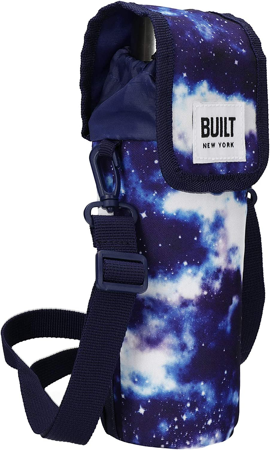 BUILT Insulated Bottle Bag with Shoulder Strap & 'Galaxy' Design, 100 percent Polyester with Food Safe PEVA Lining, Multi Colour, 9 x 11 x 25cm