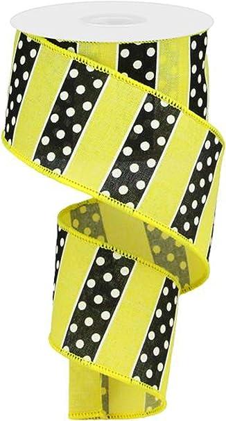 Grey White Polka Dot Wired Ribbon By the Roll 2.5 x 10 YARD ROLL RGA1935NX