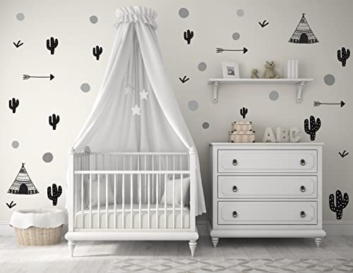 Ethnic Tents Wall Decal Baby Wall Decal Scandinavian Decals Kids Stickers Baby Decoration Children Decorations Decal Peaks Polka Dots