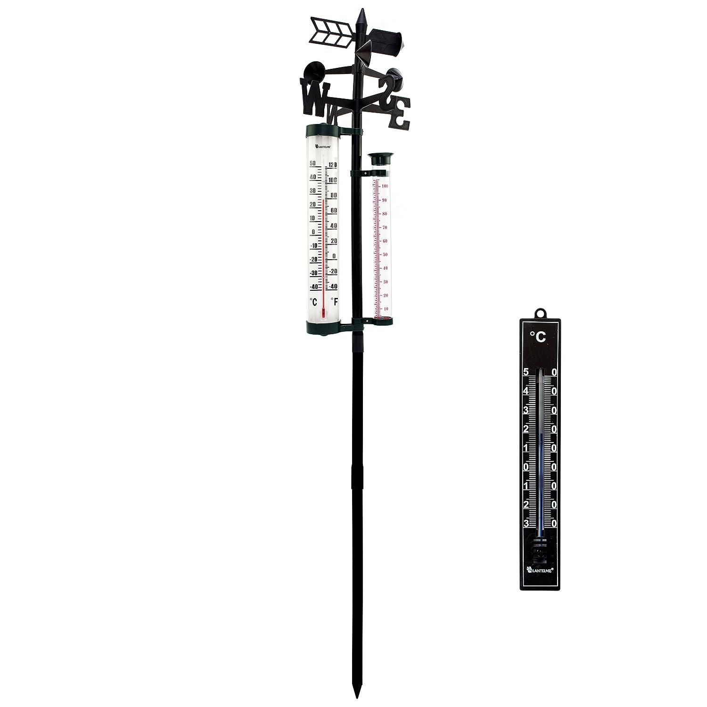 Lantelme 7029 Set Analogthermometer und Analoge Wetterstation mit Regenmesser - Windrichtungsanzeiger und Thermometer