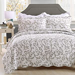 vctops Printed Cotton Quilted Bedspread Quilt Sets 3 Pieces Reversible Coverlet Set, Classic Bohemian Pattern, White Grey Queen Size