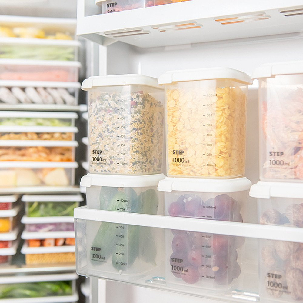 Gotian Kitchen Food Storage Box Refrigerator Container, Plastic Sealed Cans Kitchen Storage Box Transparent Food Canister Keep Fresh Jar (B: 650ML)