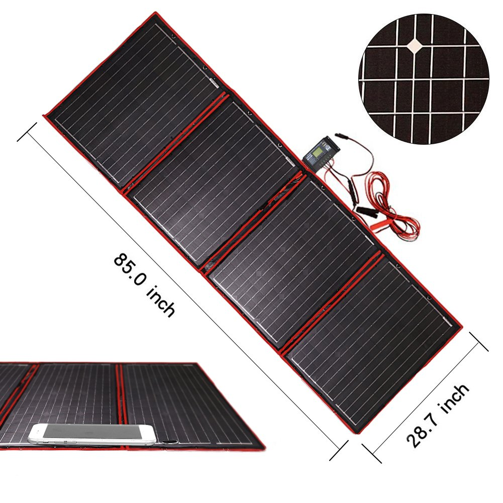 Dokio 200 Watts 12 Volts Monocrystalline foldable Solar Panel with Solar Charger Controller New Design