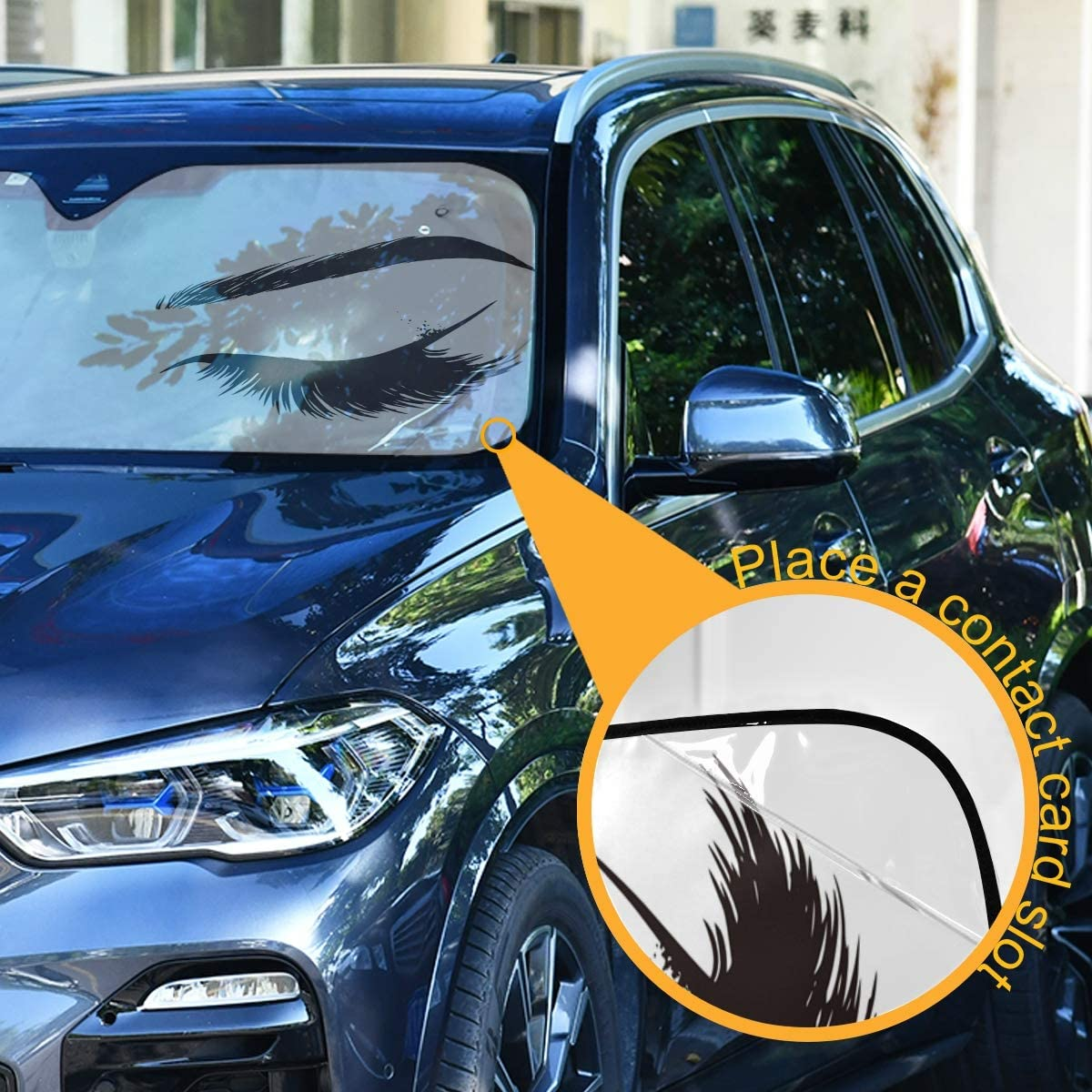 55 x 27.6 Oarencol Women Eyes Car Windshield Sun Shade Foldable UV Ray Sun Visor Protector Sunshade to Keep Your Vehicle Cool