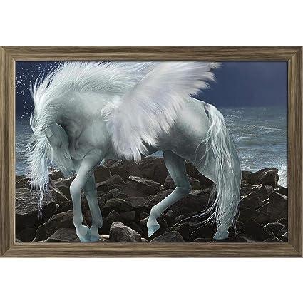 600f1f4b3f2 Artzfolio White Pegasus Poster Antique Golden Frame with Glass 19.5 X  13.5Inch  Amazon.in  Home   Kitchen