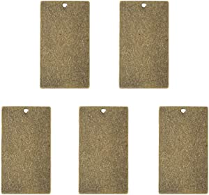 Beadthoven 5-Piece 32x18mm Rectangle Metal Tags Antique Bronze Color Brass Blank Stamping Blank Pendants Handmade Crafting Tag Accessories Supplies Personalized Custome