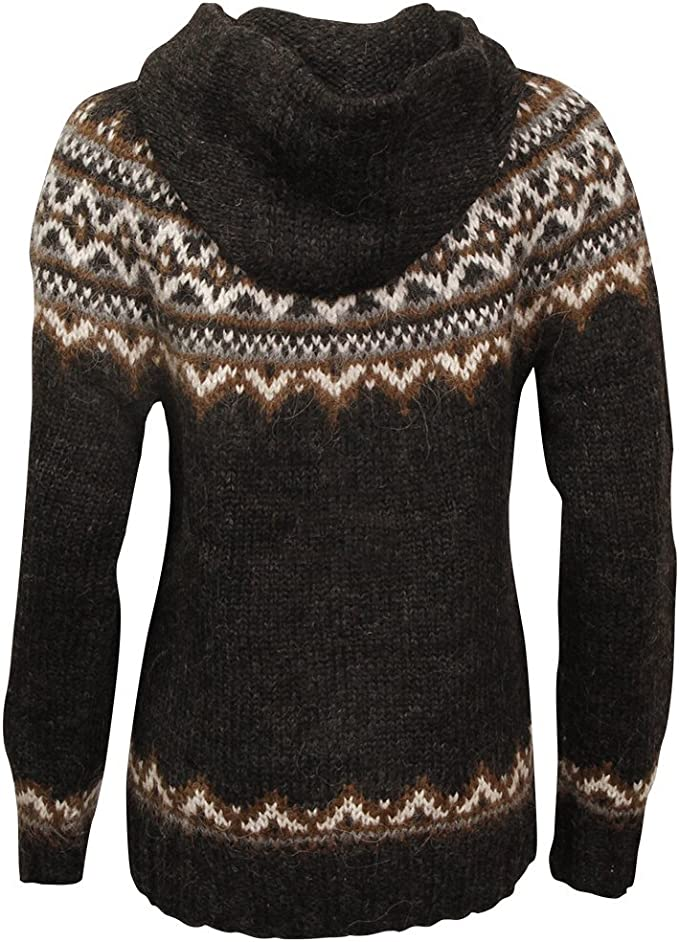 ICEWEAR Brynja 100% Icelandic Wool Hand Knitted Jumper with Zipper and Hood
