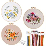 Chfine 3 Pack Embroidery Starter Kit with Pattern,Cross Stitch Kit for Adults Beginners, Including Stamped Embroidery Cloth w