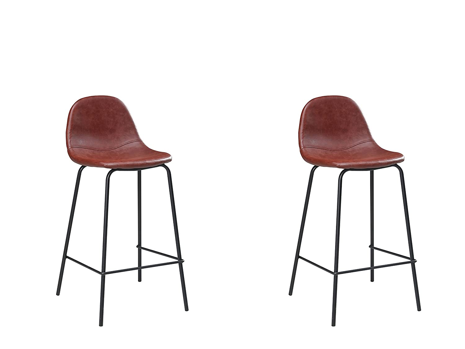 Meubles House Jose Modern Kitchen Island Counter Stool 26-Inch H-Red PU (Set of Two), Single, Reddish Brown S2-DC9013-2R