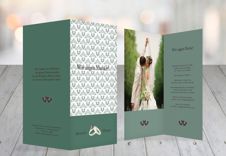 Kartenparadies Danksagung für Hochzeitsgeschenke Hochzeit Danke Ornament mit Herz, hochwertige Danksagungskarte Hochzeitsglückwünsche inklusive Umschläge   10 Karten - (Format  105x215 mm) Farbe  TürkisGrauMatt B01N9U9DHD | Schöne