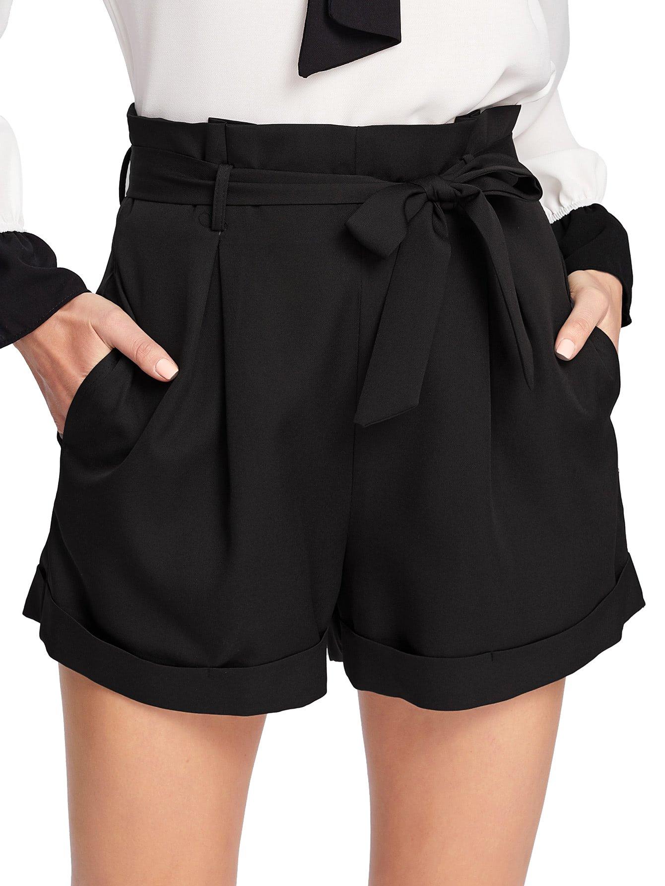 SheIn Women's Tie Waist Inseam Pocket Side Plaid Shorts Black Medium