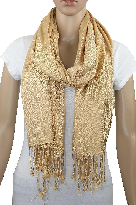 Achillea Bamboo Rayon Feel Soft Silky Pashmina Solid Shawl Wrap Scarf