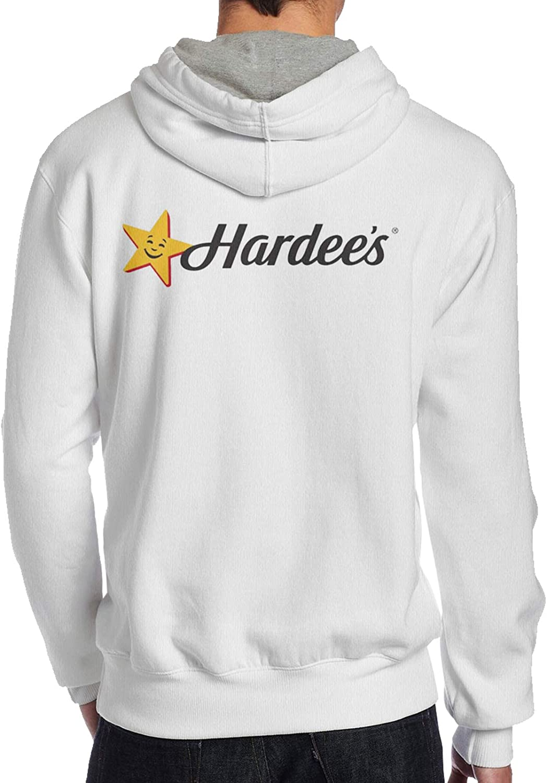 Lwjki Mans Classic Hardees Fast Food Logo Hoodies White