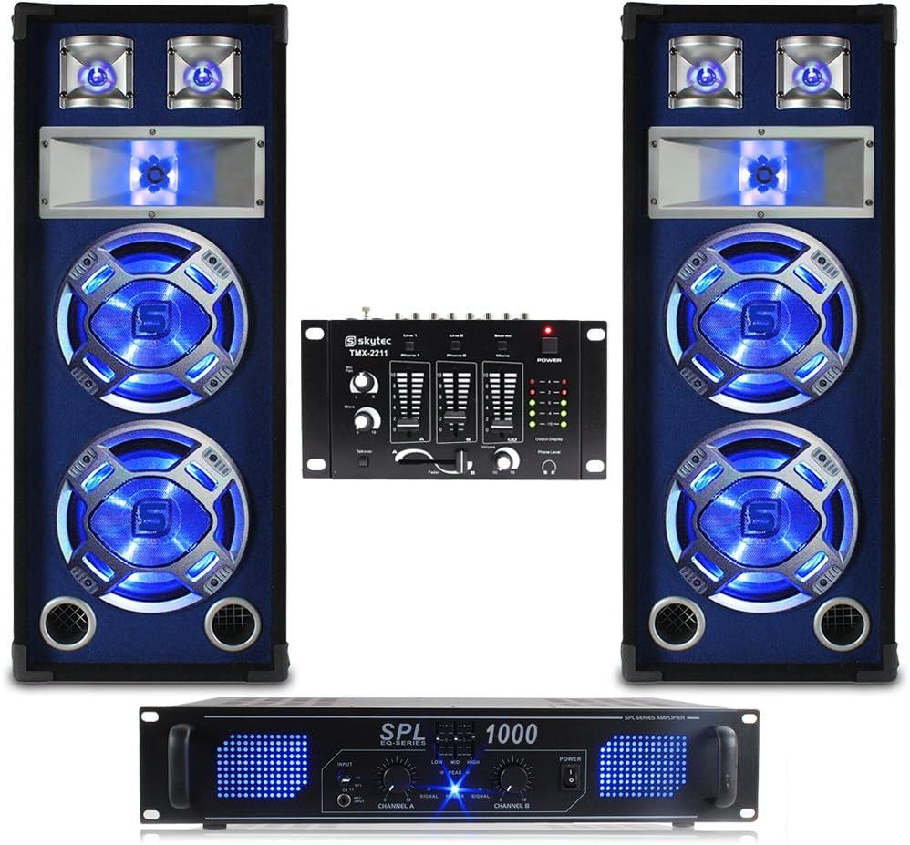 2x Skytec Dual 10 Inch Blue LED PA