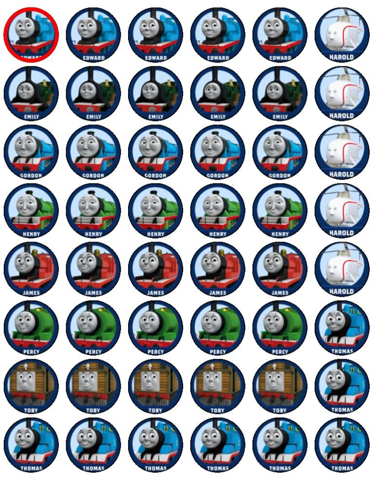 48 Thomas the Tank Engine Cupcake Toppers by Coyote Party and print