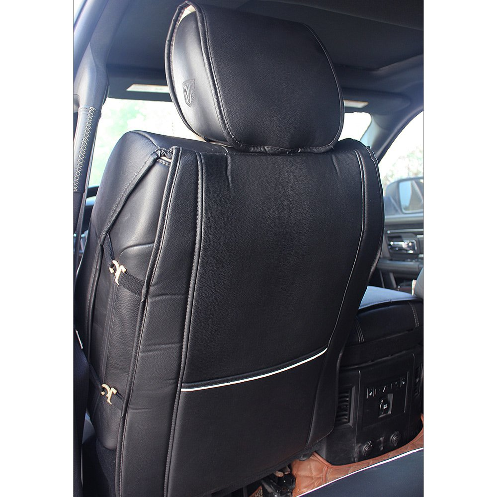 Fly5D PU Leather Car Seat Covers Front Rear Seat Cushion Cover Full Sets Apply for 2009-2017 Dodge RAM 1500 2500 3500 (Black) by Fly5D (Image #7)
