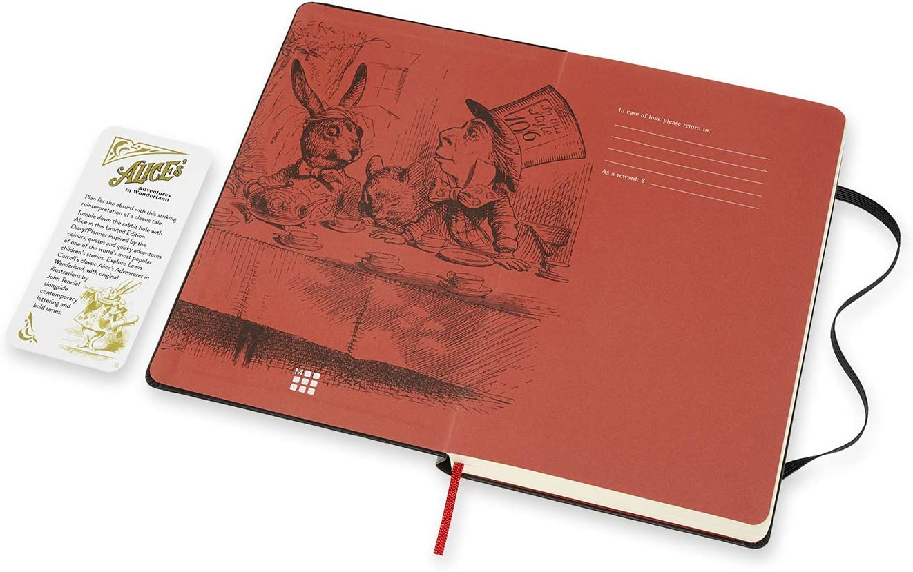 Amazon Com Moleskine Limited Edition Alice In Wonderland 12 Month 2021 Daily Planner Hard Cover Large 5 X 8 25 We Re All Mad Here Office Products